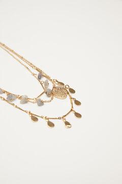 Hoss Intropia Duzu. Collar dorado triple piedras semipreciosas Amarillo