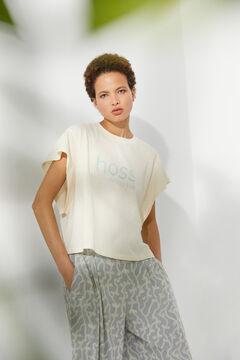 Hoss Intropia Pas. Camiseta algodón orgánico sisa abierta logo Hoss Marfil