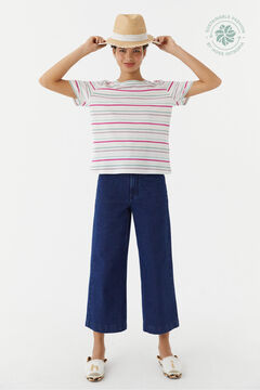 Hoss Intropia Espart. Camiseta manga corta algodón orgánico rayas Marfil