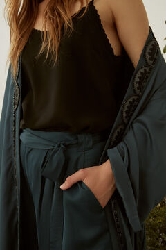 Hoss Intropia Fondalet. Kimono largo fluido bordado Azul