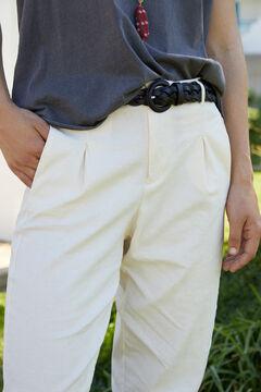 Hoss Intropia Menorca. Pantalón mezcla lino pinzas Beige