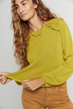 Hoss Intropia Cantal. Jersey lino bambú con calados hombros Verde