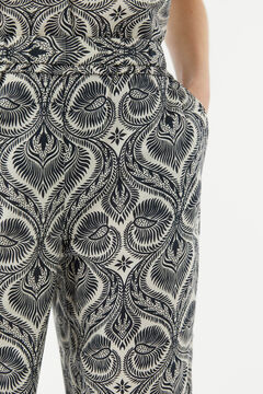 Hoss Intropia Gialos. Pantalón algodón orgánico estampado Marfil