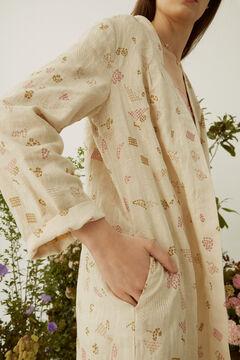 Hoss Intropia Masbó. Kimono largo lino bordado Beige