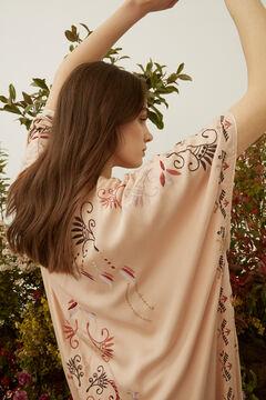 Hoss Intropia Olivo. Kimono largo fluido bordado Rosa