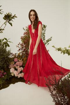 Hoss Intropia Bianca. Vestido largo fluido de fiesta bordado Rojo