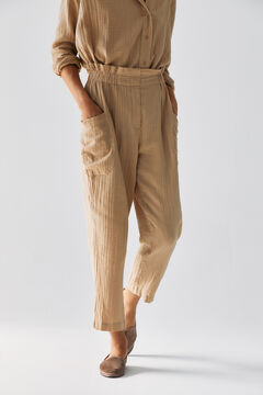 Hoss Intropia Arán. Pantalón algodón cintura elástica Beige