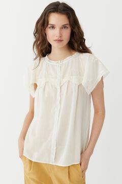 Hoss Intropia Freda. Blusa bordados en el cuello Blanco
