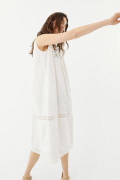Hoss Intropia Eulària. Vestido midi de algodón bordados Blanco
