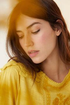 Hoss Intropia Canela. Blusa de algodón con bordado Amarillo