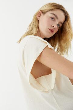 Hoss Intropia Pas. Camiseta algodón orgánico sisa abierta logo Hoss Blanco