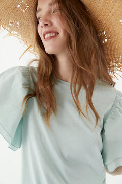Hoss Intropia Talamanca. Camiseta de algodón orgánica romántica Verde