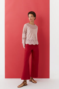 Hoss Intropia Morell. Blusa romántica de algodón Rosa