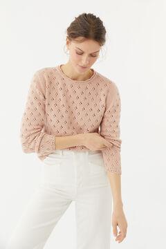 Hoss Intropia Terli. Jersey de punto de algodón orgánico con calados Rosa