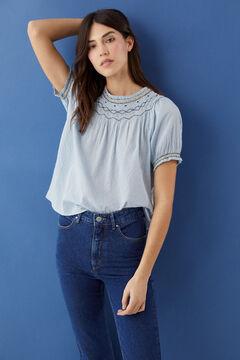 Hoss Intropia Pinet. Blusa de algodón escote bordado Azul